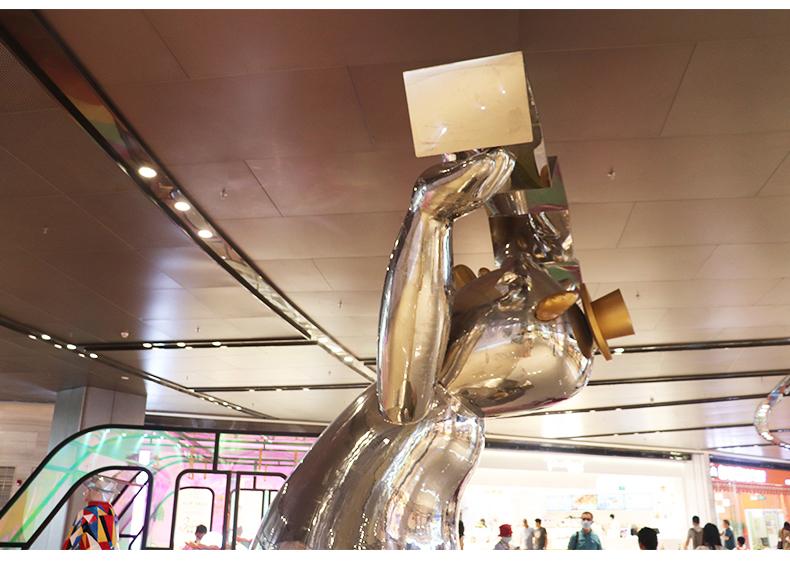 三方熊玻璃钢雕塑商场切面抽象动物雕塑