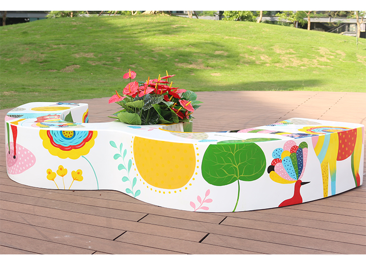 玻璃钢彩绘M形花盆坐凳
