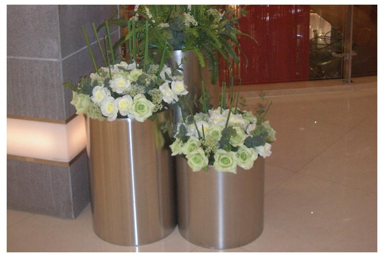 不锈钢圆形景观花盆