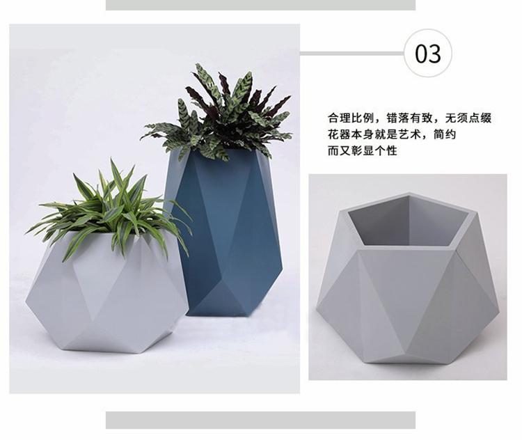 玻璃钢异形切面花盆组合