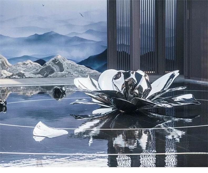 荷花不锈钢雕塑景观广场售楼部雕塑