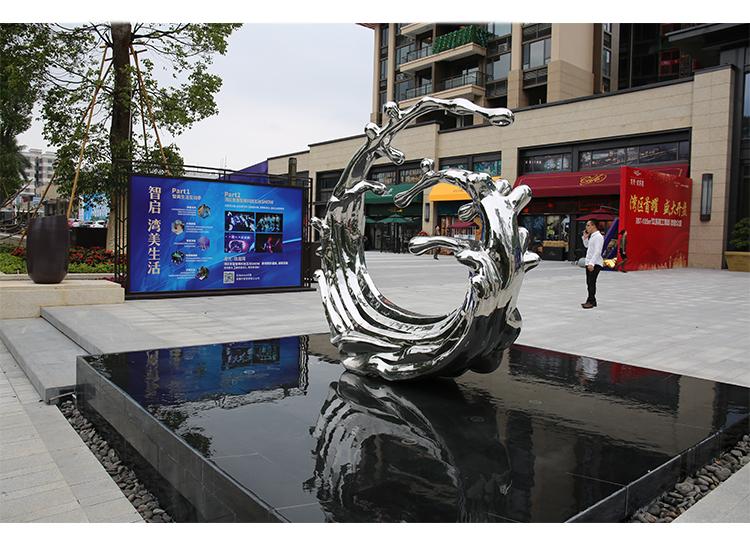 浪花不锈钢雕塑售楼部城市景观广场摆件