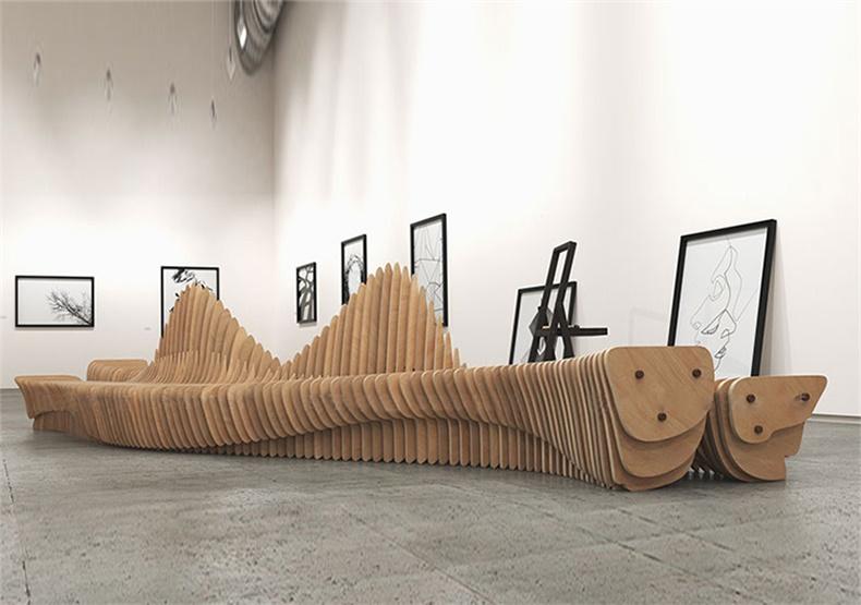 切片木质坐凳商场艺术异形创意座椅
