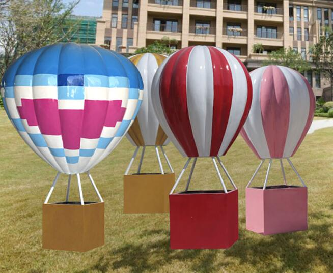 玻璃钢热气球雕塑,商业街游乐园美陈摆件!
