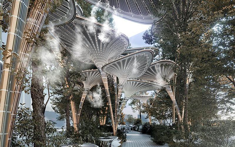 迪拜不锈钢园林景观雕塑案例