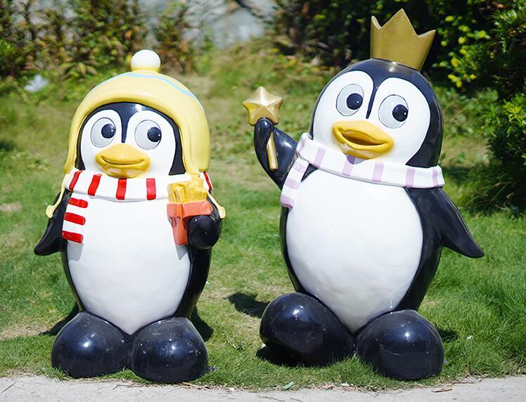 卡通Q版企鹅雕塑,公园美陈装饰摆件!