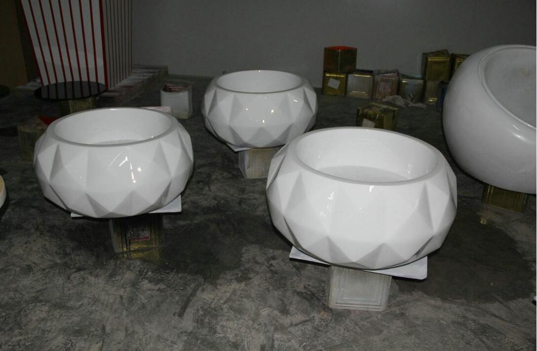 玻璃钢大型菱形圆形花盆商业街绿化花钵