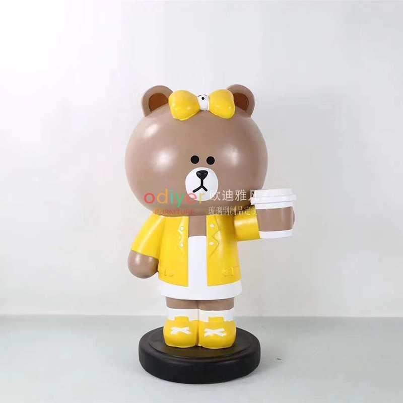 拍照框玻璃钢布朗熊雕塑