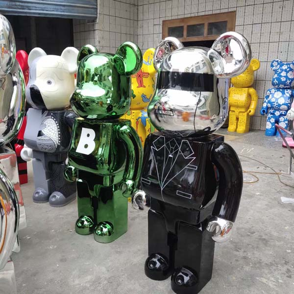 暴力熊大摆件卡通玻璃钢雕塑店铺门口积木熊
