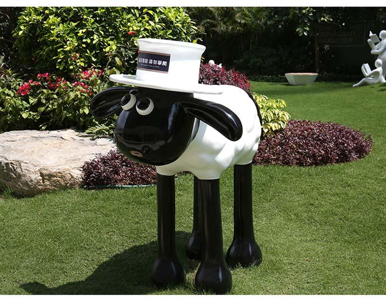 肖恩羊玻璃钢仿真动物雕塑摆件园林景观庭院花园小品