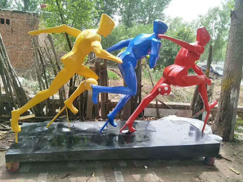 园林小区楼盘景观摆件户外玻璃钢骑自行车跑步人物雕塑