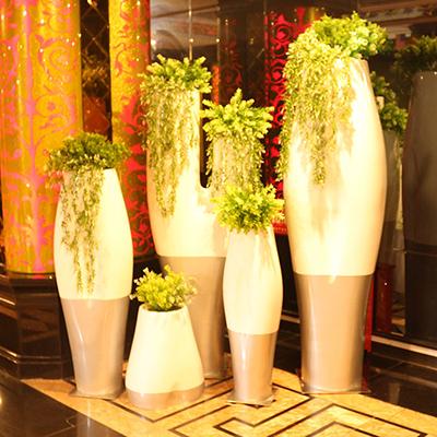 玻璃钢树杈花盆个性组合花器花钵Y形花柱商场酒店大花盆