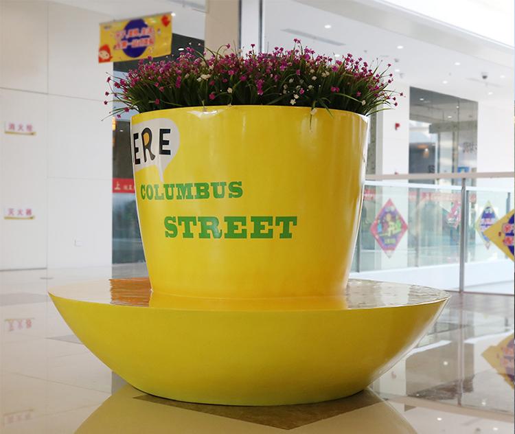 玻璃钢咖啡杯座椅简约茶杯造型休闲椅花盆组合