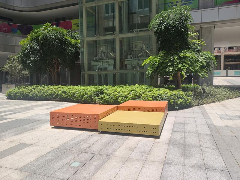 不锈钢镀锌板户外景观坐凳