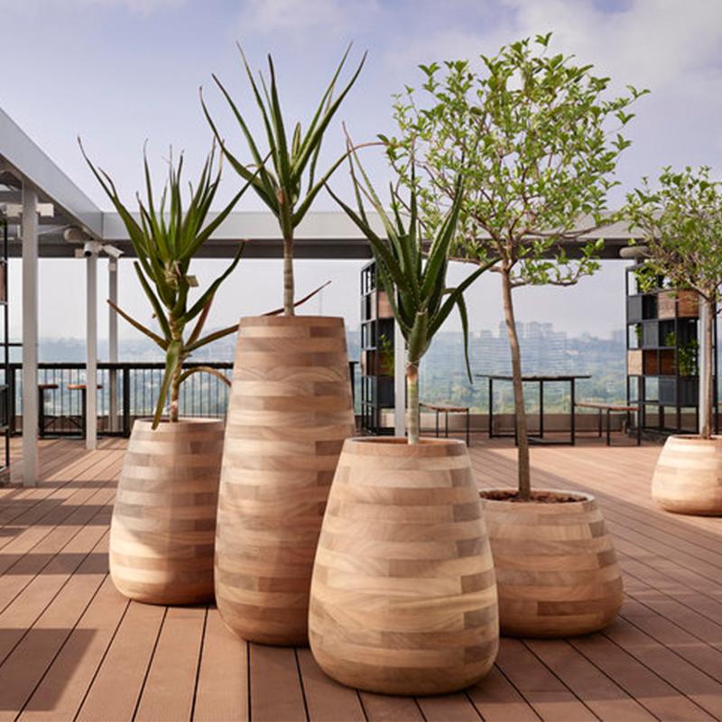 玻璃钢仿木纹花盆组合,自然与艺术的结合!