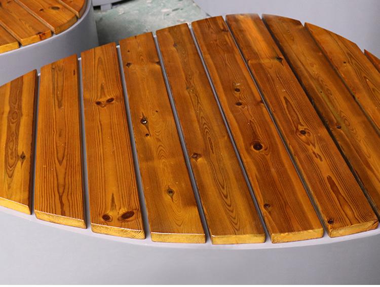 不锈钢异形防腐木面坐凳景观艺术创意座椅